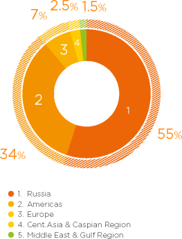 GRAPH 4.10 Sales geography (by revenue) • 2014